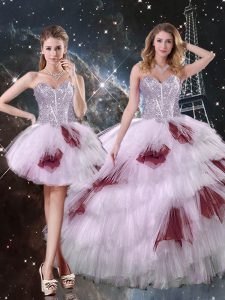Artistic Multi-color Sweetheart Neckline Beading and Ruffled Layers and Sequins Vestidos de Quinceanera Sleeveless Lace Up