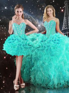 Dynamic Floor Length Ball Gowns Sleeveless Turquoise Sweet 16 Quinceanera Dress Lace Up