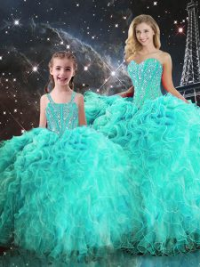 On Sale Turquoise Organza Lace Up Sweetheart Sleeveless Floor Length Sweet 16 Dresses Beading and Ruffles