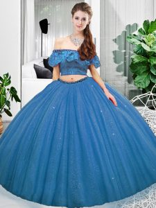 Pretty Floor Length Blue Ball Gown Prom Dress Organza Sleeveless Lace