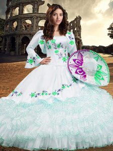 Long Sleeves Lace Up Floor Length Embroidery and Ruffled Layers Ball Gown Prom Dress