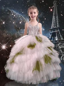 White Ball Gowns Straps Sleeveless Tulle Floor Length Lace Up Beading and Ruffled Layers Little Girls Pageant Dress Wholesale