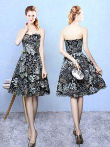 Chic Sleeveless Zipper Knee Length Pattern Quinceanera Court Dresses