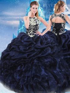 Modern High-neck Sleeveless Taffeta Quinceanera Dress Appliques and Ruffles and Pick Ups Lace Up