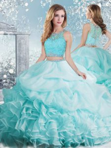 Noble Aqua Blue Sleeveless Floor Length Beading and Ruffles and Pick Ups Clasp Handle Sweet 16 Quinceanera Dress