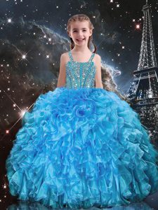 Baby Blue Lace Up Straps Beading and Ruffles Kids Formal Wear Organza Sleeveless
