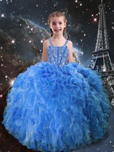 Beading and Ruffles Child Pageant Dress Baby Blue Lace Up Sleeveless Floor Length