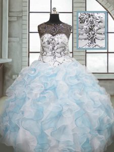 Beauteous Blue And White Sleeveless Beading and Ruffles Floor Length Vestidos de Quinceanera