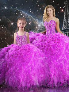 Fabulous Sweetheart Sleeveless Lace Up 15 Quinceanera Dress Fuchsia Organza
