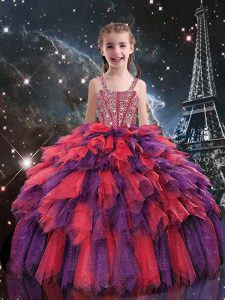Coral Red Tulle Lace Up Straps Sleeveless Floor Length Pageant Gowns For Girls Beading and Ruffles