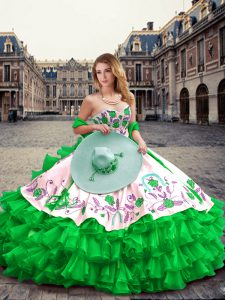 Trendy Green Ball Gowns Embroidery and Ruffled Layers Ball Gown Prom Dress Lace Up Organza and Taffeta Sleeveless Floor Length