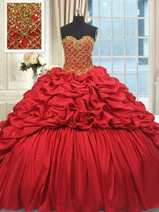 Sleeveless Taffeta Brush Train Lace Up Vestidos de Quinceanera in Red with Beading and Pick Ups