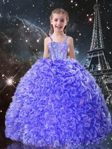 Hot Selling Blue Little Girls Pageant Dress Wholesale Quinceanera and Wedding Party with Beading and Ruffles Straps Sleeveless Lace Up