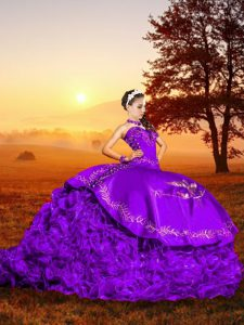 Dazzling Sweetheart Sleeveless Ball Gown Prom Dress Brush Train Embroidery Lavender Organza