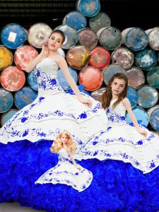 Ideal Royal Blue 15 Quinceanera Dress Military Ball and Sweet 16 and Quinceanera with Embroidery and Ruffles Strapless Sleeveless Brush Train Lace Up
