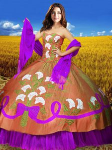 Multi-color Sleeveless Floor Length Embroidery Lace Up Sweet 16 Dresses
