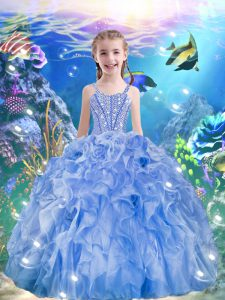 Straps Sleeveless Pageant Gowns For Girls Floor Length Beading and Ruffles Light Blue Organza
