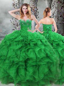 Colorful Floor Length Green Vestidos de Quinceanera Organza Sleeveless Beading and Ruffles