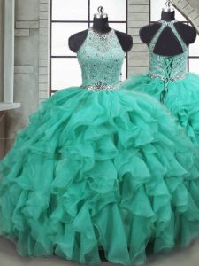 Turquoise Lace Up Vestidos de Quinceanera Beading and Ruffles Sleeveless Brush Train