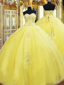 Yellow Sleeveless Tulle Lace Up Quinceanera Dresses for Military Ball and Sweet 16 and Quinceanera