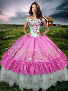 Modest Sleeveless Lace Up Floor Length Beading and Embroidery and Ruffled Layers Sweet 16 Quinceanera Dress