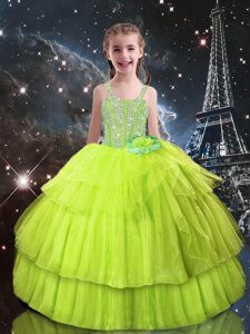 Tulle Sleeveless Floor Length Girls Pageant Dresses and Beading and Ruffled Layers