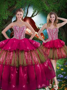 Burgundy Quinceanera Gown Military Ball and Sweet 16 and Quinceanera with Beading and Ruffled Layers Sweetheart Sleeveless Lace Up