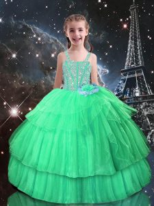 Simple Apple Green Tulle Lace Up Straps Sleeveless Floor Length Little Girls Pageant Dress Beading and Ruffled Layers