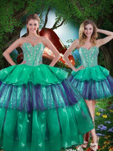 Comfortable Beading and Ruffled Layers Quinceanera Gown Turquoise Lace Up Sleeveless Floor Length
