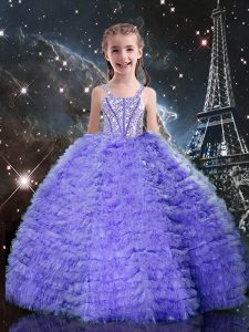 Lavender Tulle Lace Up Kids Formal Wear Short Sleeves Floor Length Beading and Ruffled Layers