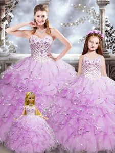 New Style Lilac Sleeveless Beading and Ruffles Floor Length Quinceanera Gown