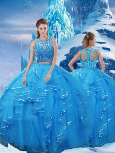 Attractive Baby Blue Sleeveless Beading and Ruffles Floor Length Sweet 16 Quinceanera Dress