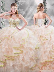 Peach Sleeveless Brush Train Beading and Ruffles Quinceanera Dresses