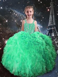 Fantastic Apple Green Lace Up Little Girls Pageant Dress Beading and Ruffles Sleeveless Floor Length
