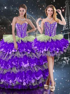 Dynamic Multi-color Ball Gowns Organza Sweetheart Sleeveless Beading and Ruffles and Ruffled Layers Floor Length Lace Up Sweet 16 Dresses