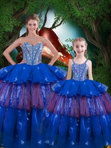 Sleeveless Floor Length Beading and Ruffled Layers Lace Up Sweet 16 Quinceanera Dress with Blue