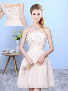 Best Selling Champagne Empire Appliques Court Dresses for Sweet 16 Lace Up Chiffon Sleeveless Knee Length