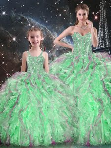 Green Ball Gowns Organza Sweetheart Sleeveless Beading and Ruffles Floor Length Lace Up Quinceanera Dresses