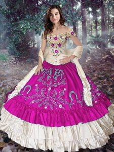 Sleeveless Lace Up Floor Length Embroidery and Ruffled Layers Quinceanera Gown