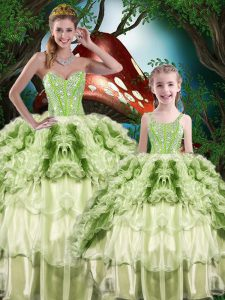 High Class Yellow Green Organza Lace Up 15 Quinceanera Dress Sleeveless Floor Length Beading and Ruffles and Ruffled Layers