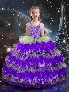 Cute Sleeveless Lace Up Floor Length Beading and Ruffled Layers Child Pageant Dress