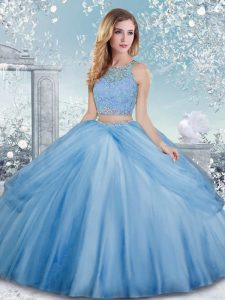 Exceptional Floor Length Baby Blue 15 Quinceanera Dress Tulle Sleeveless Beading