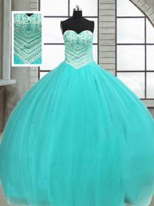 Fancy Tulle Sweetheart Sleeveless Lace Up Beading Quinceanera Gowns in Turquoise