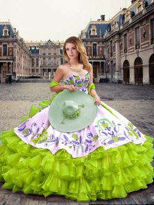 Yellow Green Sleeveless Embroidery and Ruffled Layers Floor Length Quinceanera Gowns
