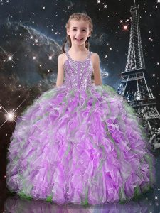 Beading and Ruffles Girls Pageant Dresses Lilac Lace Up Sleeveless Floor Length