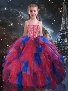 Floor Length Lace Up Pageant Gowns For Girls Coral Red for Quinceanera and Wedding Party with Beading and Ruffles