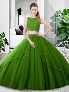 Amazing Olive Green Two Pieces Lace and Ruching Sweet 16 Dress Zipper Tulle Sleeveless Floor Length