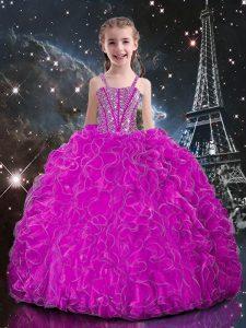 Great Fuchsia Lace Up Kids Pageant Dress Beading and Ruffles Sleeveless Floor Length