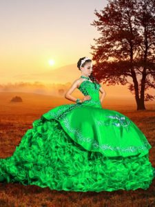 Modest Green Sweetheart Lace Up Embroidery and Ruffles 15 Quinceanera Dress Brush Train Sleeveless