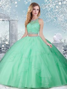 Gorgeous Apple Green High-neck Clasp Handle Beading Sweet 16 Quinceanera Dress Sleeveless
